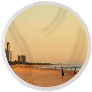 Round Beach Towel featuring the photograph Gold Coast Beach by Eric Tressler