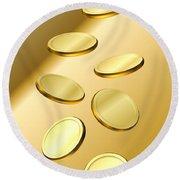Gold Coins Round Beach Towel