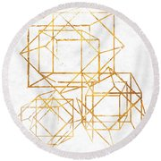 Gold Cubed I Round Beach Towel