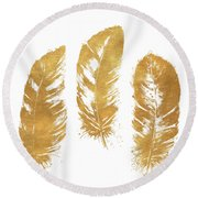 Gold Feather Square Round Beach Towel
