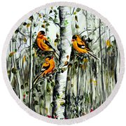 Gold Finches Round Beach Towel