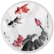 Round Beach Towel featuring the photograph Gold Fish In Lotus Pond by Yufeng Wang