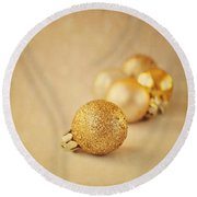 Gold Glittery Christmas Baubles Round Beach Towel by Lyn Randle