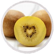 Gold Kiwifruit Round Beach Towel