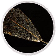 Round Beach Towel featuring the photograph Gold Leaf by Ann Horn
