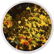 Gold Leaved Tree Round Beach Towel