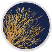 Gold Medley On Navy Round Beach Towel