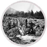 Gold Mining Claim C. 1890 Round Beach Towel