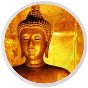 Round Beach Towel featuring the photograph Gold On Gold by Nola Lee Kelsey