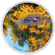 Gold Reflections Round Beach Towel
