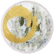 Gold Rush - Abstract Art Round Beach Towel by Linda Woods