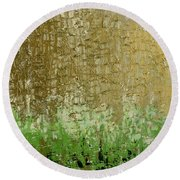 Gold Sky Green Grass Round Beach Towel