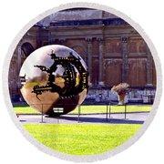 Gold Sphere - Vatican Museum Round Beach Towel