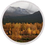Round Beach Towel featuring the photograph Golden Autumn - Cairngorm Mountains by Phil Banks