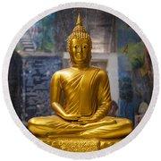 Golden Buddha In Sri Lanka Round Beach Towel