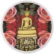 Golden Buddha In The Garden Round Beach Towel