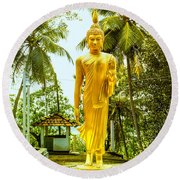 Golden Buddha On A Lotus Flower Round Beach Towel