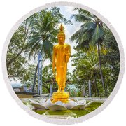 Golden Buddha On A Temple Flower Round Beach Towel