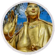 Golden Buddha Statue Round Beach Towel