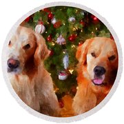 Golden Christmas Round Beach Towel