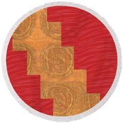 Golden Circles Red Sparkle  Round Beach Towel by Navin Joshi