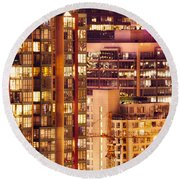 Round Beach Towel featuring the photograph City Of Vancouver - Golden City Of Lights Cdlxxxvii by Amyn Nasser