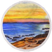 Golden Cove Round Beach Towel