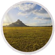 Golden Desert Round Beach Towel