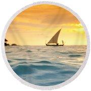 Golden Dhoni Sunset Round Beach Towel