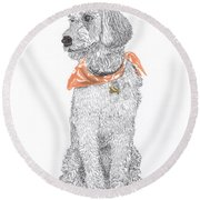 Trash Talking Golden Doodle Round Beach Towel by Jack Pumphrey