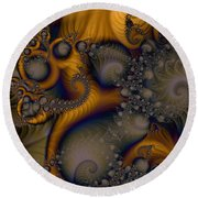 Golden Dream Of Fossils Round Beach Towel by Elizabeth McTaggart