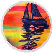 Golden Dreams Round Beach Towel