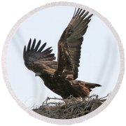 Golden Eagle Takes Off Round Beach Towel by Bill Gabbert