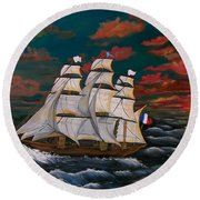 Golden Era Of Sail Round Beach Towel