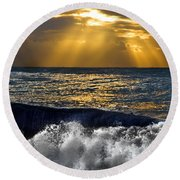 Golden Eye Of The Morning Round Beach Towel