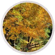 Round Beach Towel featuring the photograph Golden Fenceline by Gordon Elwell