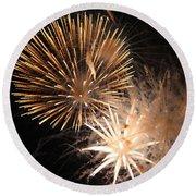 Golden Fireworks Round Beach Towel