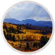 Golden Fourteeners Round Beach Towel
