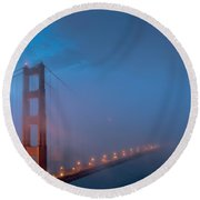 Golden Gate At Blue Hour Round Beach Towel