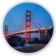 Golden Gate At Twilight Round Beach Towel