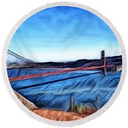 Windy Day At Golden Gate Bridge Round Beach Towel