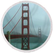 Golden Gate Bridge And Partial Arch In Color  Round Beach Towel