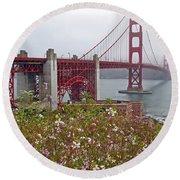 Golden Gate Bridge And Summer Flowers Round Beach Towel by Connie Fox