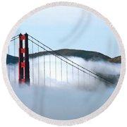 Golden Gate Bridge Clouds Round Beach Towel