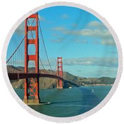 Golden Gate Bridge Round Beach Towel by Emmy Marie Vickers