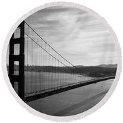 Golden Gate Bridge In Black And White Round Beach Towel by Frank Bright