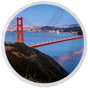 Golden Gate Bridge Round Beach Towel by Mihai Andritoiu