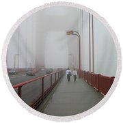 G. G. Bridge Walking Round Beach Towel by Oleg Zavarzin