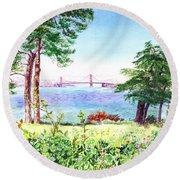 Golden Gate Bridge View From Lincoln Park San Francisco Round Beach Towel