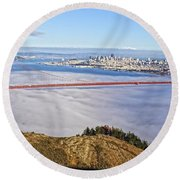 Round Beach Towel featuring the photograph Golden Gate by Dave Files
